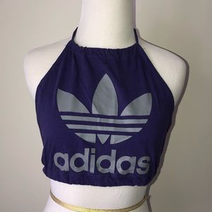Reworked Adidas Backless Halter Crop Top